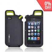 Original PureGear AT&amp;T/ Verizon Apple iPhone 4, iPhone 4S PX360 Rubberized Hard Impact Case w/ Utility Tool, Carabiner, &amp; Screen Protector, 02-001-01174 - Black/ Lime Green