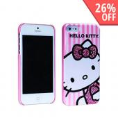Hello Kitty w/ Pink Gem Bow on Stripes Hard Case for Apple iPhone 5