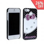 Hello Kitty w/ Silver & Pink Gems on White Polka Dots Hard Case for Apple iPhone 5