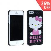 Hello Kitty on Gray Polka Dots Rubberized Hard Case for Apple iPhone 5