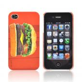 Original DCI AT&amp;T/ Verizon iPhone 4, iPhone 4S Flash Rubberized Hard Case, 30420 - Hamburger on Red Stripes