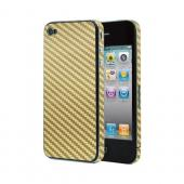 OEM Luardi Apple iPhone 4/4S Reusable Protective Skin w/ Screen Protector - Gold Carbon Fiber Design
