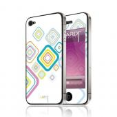 OEM Luardi Apple iPhone 4/4S Reusable Protective Skin - Multi-Color Luardi Pattern on Solid White