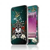 OEM Luardi Apple iPhone 4/4S Reusable Protective Skin - Crown & Skull on Green