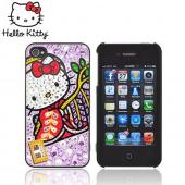 Officially Licensed Sanrio Hello Kitty Apple iPhone 4/4S iDress Bling Hard Case, ID-92KT - Kimono Hello Kitty w/ Purple/Silver Gems