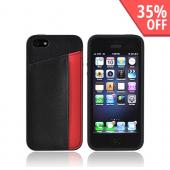 Premium Apple iPhone 5 Slide-On Hard Case w/ Leather Card Pocket - Red/ Black