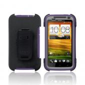 OEM Otterbox HTC One X Defender Series Silicone Over Hard Case w/ Holster &amp; Screen Protector - Purple/ Gray