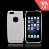 Apple iPhone 5 Inflex Crystal Silicone Case w/ Textured Back &amp; Screen Protector - Solid White