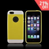 Apple iPhone 5 Inflex Crystal Silicone Case w/ Textured Back & Screen Protector - White/ Yellow