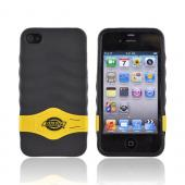 Original Dickies AT&T/ Verizon Apple iPhone 4 Crystal Silicone Case w/ Red/ Yellow/ Blue Kickstand, 69481 - Black