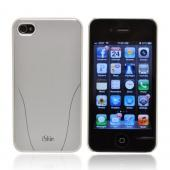 OEM iSkin Aura Apple iPhone 4/4S Ultra Slim Hard Case w/ Aluminum Back &amp; Screen Protector - White/ Silver