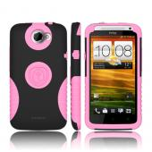 Trident Aegis HTC One X Hard Case Over Silicone w/ Screen Protector - Pink/ Black