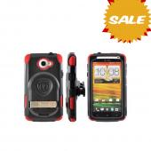 OEM Trident Kraken AMS HTC One X Hard Case Over Silicone w/ Screen Protector, Kickstand & Belt Clip - Red/ Black