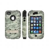 OEM Trident Kraken AMS Apple iPhone 4/4S Hard Case Over Silicone w/ Screen Protector, Kickstand & Belt Clip - Urban Olive Green Digital Camo
