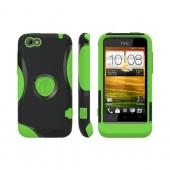 OEM Trident Aegis HTC One V Hard Cover Over Silicone Case w/ Screen Protector - Green/ Black