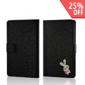 Black w/ Silver Gem Bunny Faux Leather Diary Flip Case w/ Pebbled Texture &amp; ID Slots for Apple iPad Mini