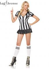LegAvenue Costume Game Official Pleated Skirt Zipper Fronts Referee Dress w, Whistle &amp; Socks 83067HW