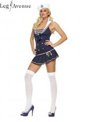 LegAvenue Costume Shipmate Cutie Halter Dress w, Anchor Charm Rope Belt & Matching Hat - Navy 83272