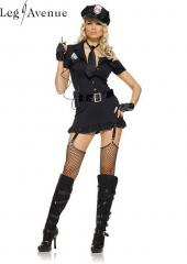 6PC LegAvenue Costume 6 Piece Dirty Cop Button Front Dress w, Hat, Fingerless Gloves, Belt, Tie &amp; Walkie Talkie 83344