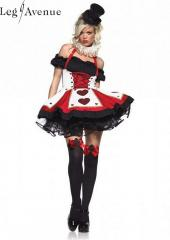 LegAvenue Costume Pretty Playing Card Peasant Top Dress w, Corset Waist &amp; Neck Piece - Red,Black 83409