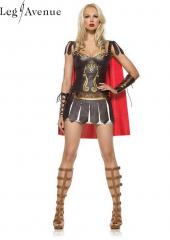 LegAvenue Costume Warrior Princess Underwire Faux Leather Dress w, Wrist Cuffs &amp; Cape 83454