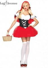 LegAvenue Costume Racy Red Riding Hood Tutu Peasant Dress w, Corset &amp; Attached Hooded Cape 83615