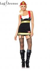 LegAvenue Costume Backdraft Babe Garter Dress w, Attached Cotton Tank, Reflective Trim &amp; Suspenders 83626