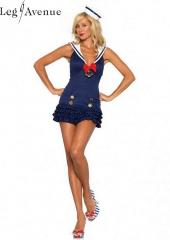 LegAvenue Costume Sweetheart Sailor Ruffle Bottom Dress w,Anchor Charm &amp; Mini Sailor Hat 83647