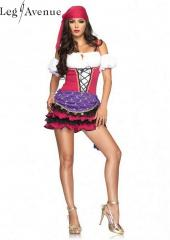 LegAvenue Costume Crystal Ball Gypsy Peasant Dress w, Ruffles Skirt, Puff Sleeves, &amp; Head Scarf 83671