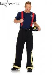 3PC LegAvenue Costume Men's Fire Captain Pants w, Reflective Trim, T-Shirt, &amp; oversized Suspenders 83684