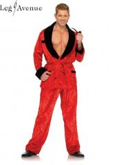 LegAvenue Costume Ultimate Bachelor Satin Flame Print Robe w, Velvet Trim & Matching Pajama Bottoms 83685