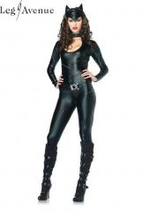 LegAvenue Costume Frisky Feline Keyhole Catsuit w, Attached Tail, Belt, &amp; Ear Headband 83767