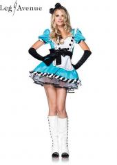 LegAvenue Costume Charming Alice Ruffle Trimmed Apron Dress w, Bow Headband 83773