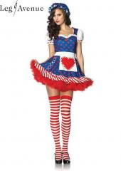 LegAvenue Costume Darling Dollie Dress w, Sweetheart Keyhole Back, Attached Felt Heart Apron, & Matching Bonnet 83777