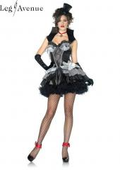 LegAvenue Costume Queen of Darkness Ruffle Dress w, Spiderweb Cape & Bat Appliqué, Stand Up Collar, & Cross Choker 83823