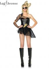 3PC LegAvenue Costume Lightening Rocker Asymmetrical Bodysuit w,Lace Sleeve &amp; Skirt, Lightening Belt, &amp; Gauntlet Glove 83828