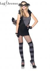 4PC LegAvenue Costume Risky Raccoon Dress w, Fuzzy Ear Hood & Bendable Tail, Eye Mask, Fingerless Gloves, & Leg Warmers 83881