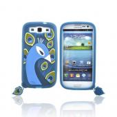 OEM Case-Mate Samsung Galaxy S3 Xing Creatures Silicone Case - Blue/ Yellow/ White Peacock