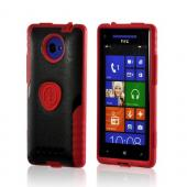 Trident Red/ Black Aegis Series Hard Case on Silicone w/ Screen Protector for HTC 8X