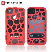 OEM Freshfiber Double Cap Apple iPhone 4/4S Textured Nylon Hard Case - Red Macedonia