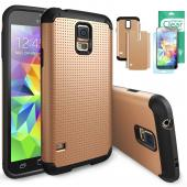 Rearth Ringke Max Double Layer Heavy Duty Protection Case with Free Premium Screen Protector for Samsung Galaxy S5 - Retail Packaging - Copper Gold
