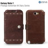 Brown OEM Zenus Samsung Galaxy Note 2 Prestige Series Bohemian M Leather Diary Case w/ ID Slots & Wrist Strap