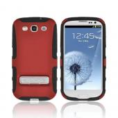 OEM Seidio Samsung Galaxy S3 Active Hard Cover Over Silicone w/ Metal Kickstand - Red/ Black