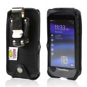 Black Turtleback Genuine Leather Pouch w/ Heavy Duty Steel Swivel Belt Clip for Blackberry Z10