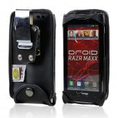 Original TurtleBack Premium Motorola Droid RAZR/ RAZR MAXX Heavy Duty Leather Pouch w/ Steel Swivel Belt Clip - Black