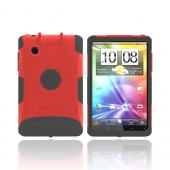 Original Trident Aegis HTC EVO View 4G/ HTC Flyer Hard Cover on Silicone Case w/ Screen Protector &amp; Detachable Stylus Mount, AG-FLYER-RD - Red/ Black