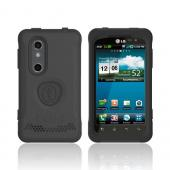 Original Trident Aegis LG Thrill 4G Anti-Skid Hard Cover Over Silicone Case w/ Screen Protector, AG-LG-THRL-BK - Black