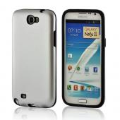 Silver/ Black Aluminum Hard Case on Silicone for Samsung Galaxy Note 2