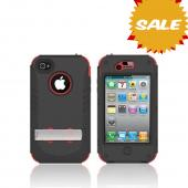 Original Trident Kraken AMS AT&T/ Verizon Apple iPhone 4, iPhone 4S Hard Case Over Silicone w/ Screen Protector, Kickstand, & Belt-Clip, AMS-IPH4S-RD - Red/ Black