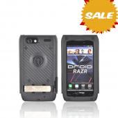 Original Trident Kraken AMS Motorola Droid RAZR Hard Case Over Silicone w/ Screen Protector, Kickstand, &amp; Belt-Clip, AMS-RAZR-BK - Black